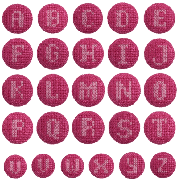 1 x Alphabet Cross Stitch Pink On Fuchsia 40 Lignes 25mm Craft Buttons