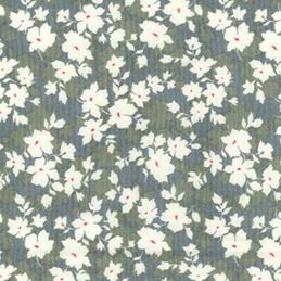 Silver 100% Cotton Poplin Fabric Rose & Hubble Valley Lane Petals Flowers Floral