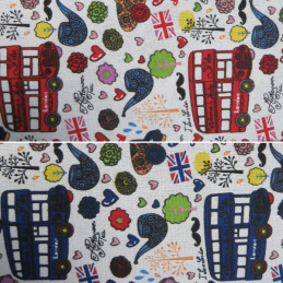 London Buses British Union Jack Cotton Canvas Fabric 150cm Wide
