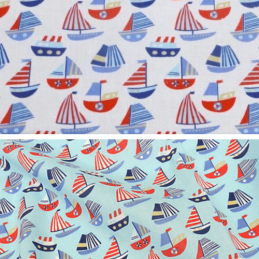 Polycotton Fabric Sailing Boats and Ships Nautical Sea Seaside
