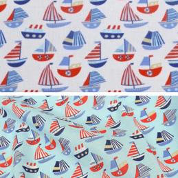 Polycotton Fabric Sailing Boats and Ships Nautical Sea Seaside