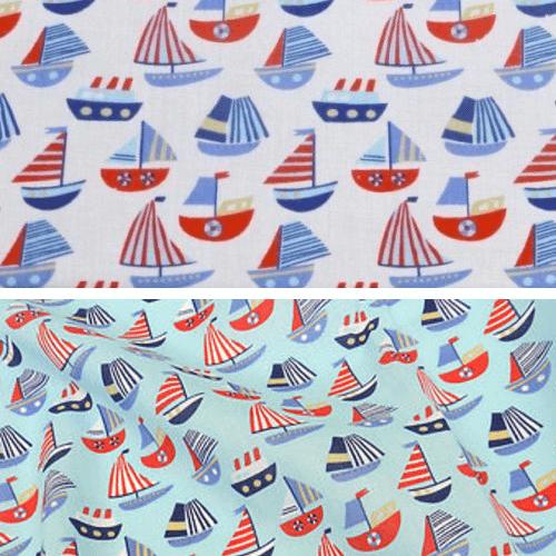 Sailing Boats and Ships Nautical Polycotton Fabric