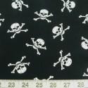 White on Black 100% Cotton Poplin Fabric Rose & Hubble Skulls Crossbones Halloween