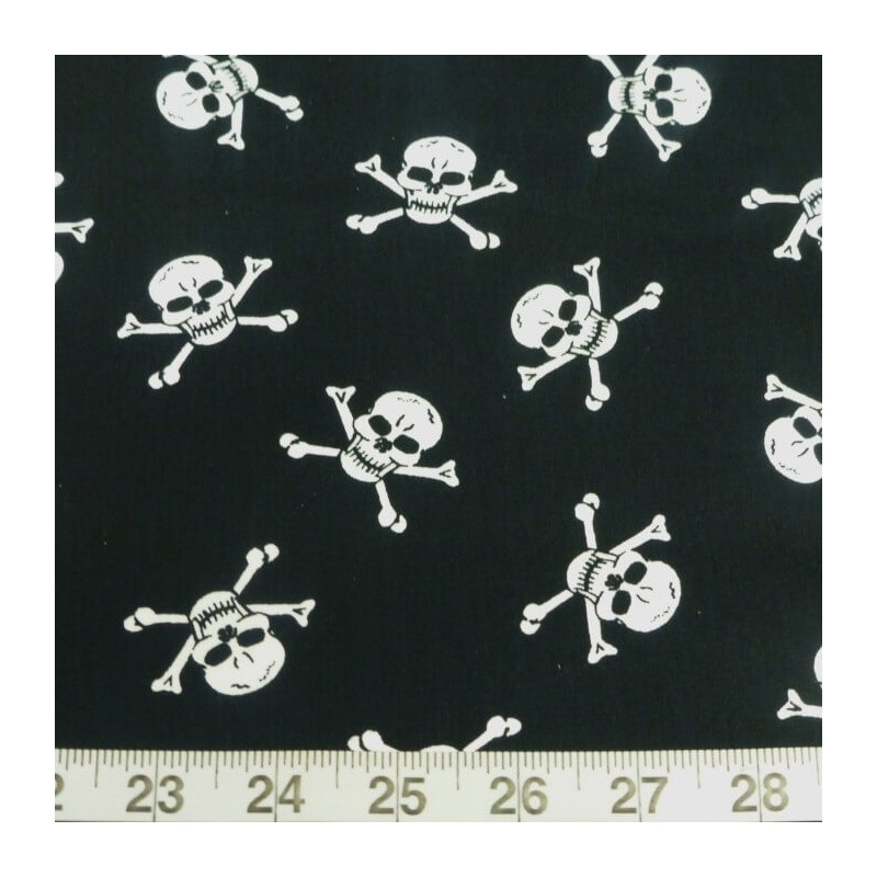 White on Black 100% Cotton Poplin Fabric Rose & Hubble Skulls Crossbones Halloween