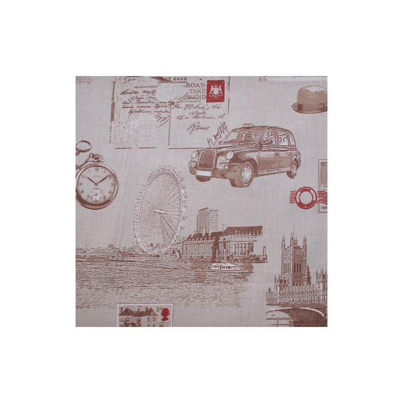 London Taxi Big Ben Postage Stamp 100% Cotton Fabric 140cm Wide