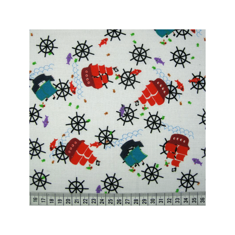 Nautical Ships Tossed With Helms & Fish Polycotton Fabric