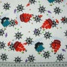 Polycotton Fabric Nautical Ships Tossed Helms & Fish Boats