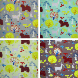 Polycotton Fabric Forest Animals Woodland Deer Bear Fox Rabbit