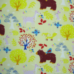 Cream Polycotton Fabric Forest Animals Woodland Deer Bear Fox Rabbit