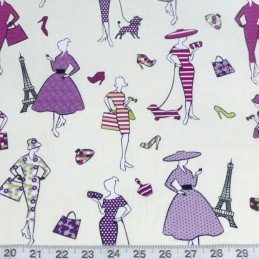 Lilac 100% Cotton Fabric Lifestyle Glamour Fashion Paris Handbags