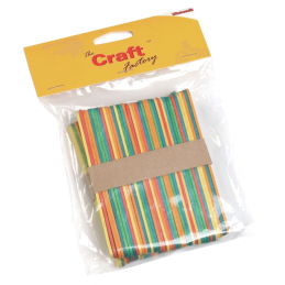 Trimits Craft Factory 80 x Wooden Bright Coloured Lollipop Ice Lolly Sticks