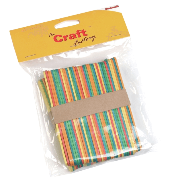 Trimits Craft Factory Wooden Bright Coloured Lollipop Ice Lolly Sticks
