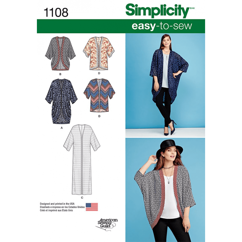Misses' Kimonos in Different Styles Cardigan Simplicity Sewing Pattern 1108