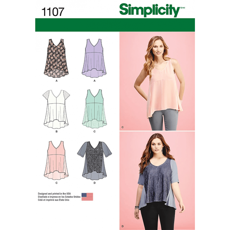 Misses Casual Tops Mixed Fabric Panels Simplicity Sewing Pattern 1107