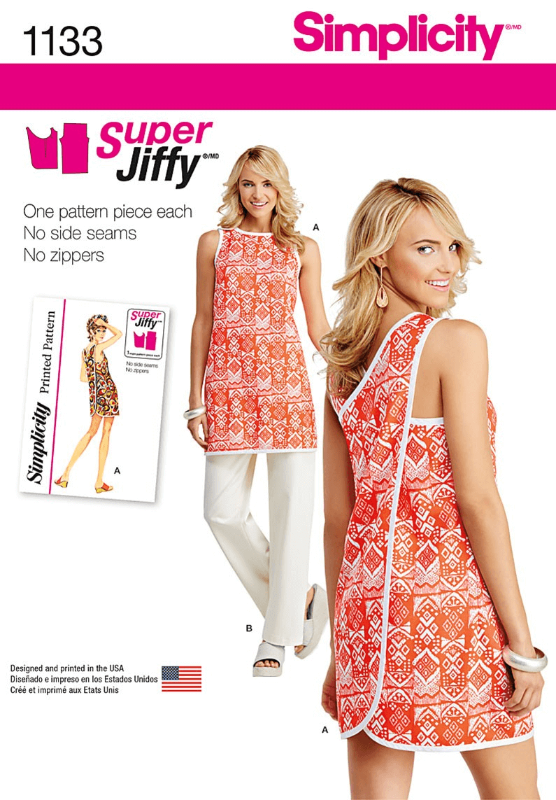Misses Super Jiffy Wrap Around Tunic and Trousers Simplicity Sewing Pattern 1133