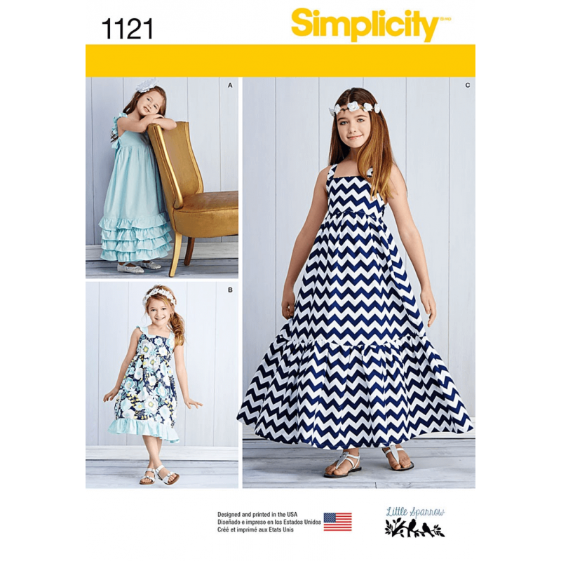 Child's and Girls' Pullover Dresses Simplicity Sewing Pattern 1121
