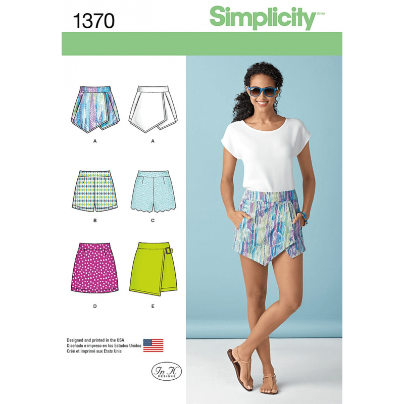Misses' Short Shorts, Skort and Mini Skirt Simplicity Sewing Pattern 1370