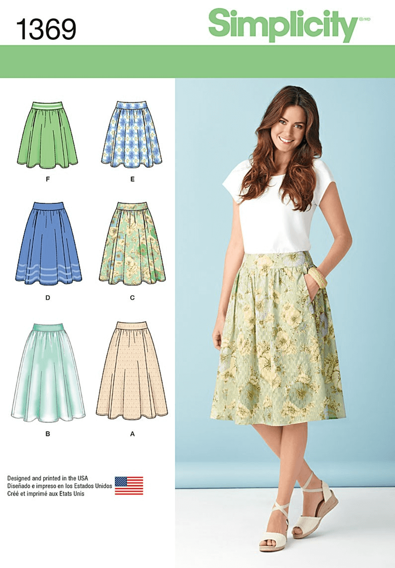 Misses Flare Skirts in Three Lengths & Variations Simplicity Sewing Pattern 1369