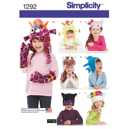 Child's Animal Hats and Mittens in Three Sizes Simplicity Sewing Pattern 1292