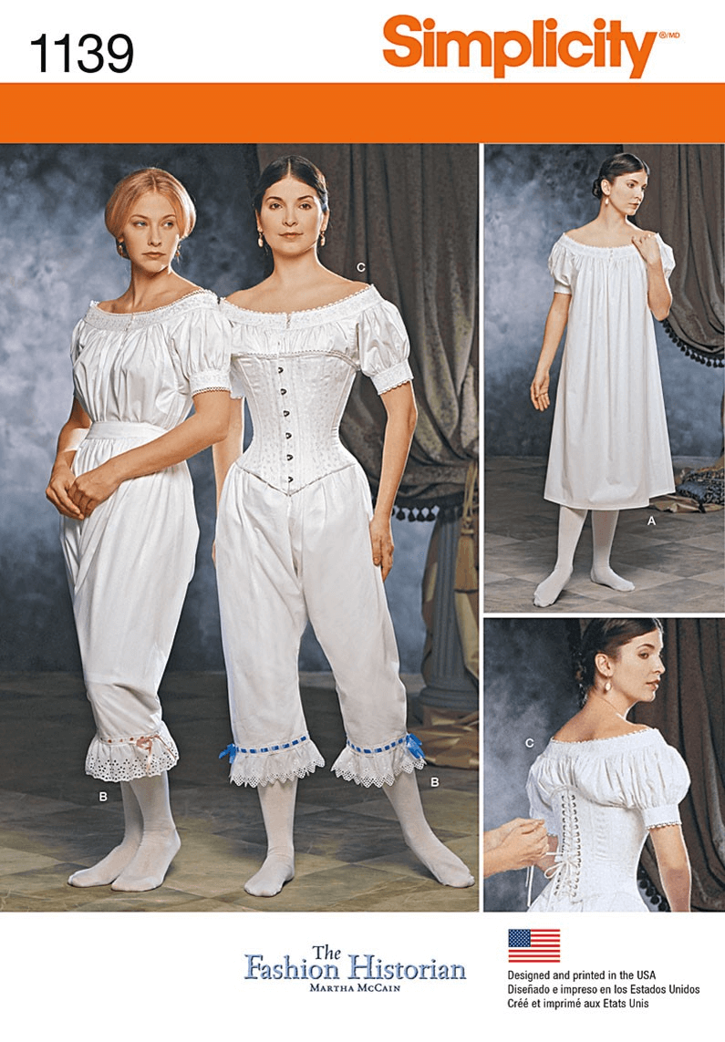 Misses Civil War Undergarments Vintage Historical Simplicity Sewing Pattern 1139
