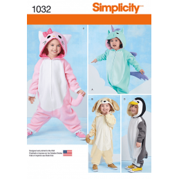 Toddlers Animal Costumes All In One PJ Simplicity Sewing Pattern 1032