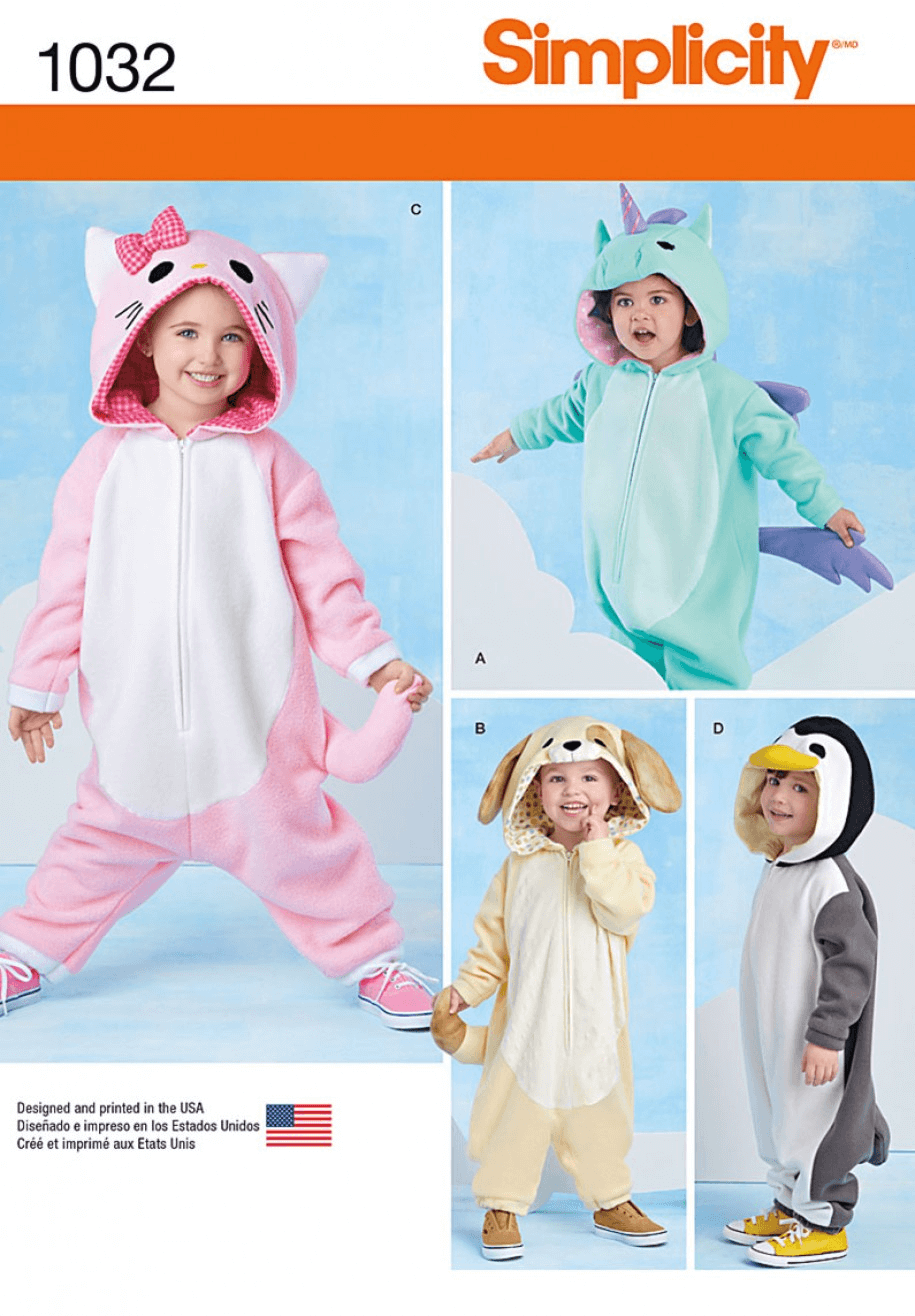 Toddlers Animal Costumes Onesies Simplicity Sewing Pattern 1032