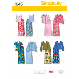 Child's, Girls' and Boys' Separates Pyjamas Simplicity Sewing Pattern 1043