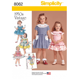 Vintage 1950's Dress for Toddler and Child Simplicity Sewing Pattern 8062