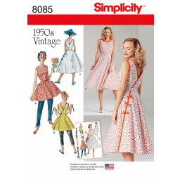Misses' Vintage 1950's Wrap Dress in Two Lengths Simplicity Sewing Pattern 8085