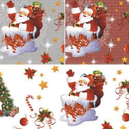 Vinyl PVC Tablecloth Christmas Santa Festive Stars Fabric 140cm Wide
