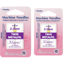 Hemline Twin Metalfil Sewing Machine Needles Klasse