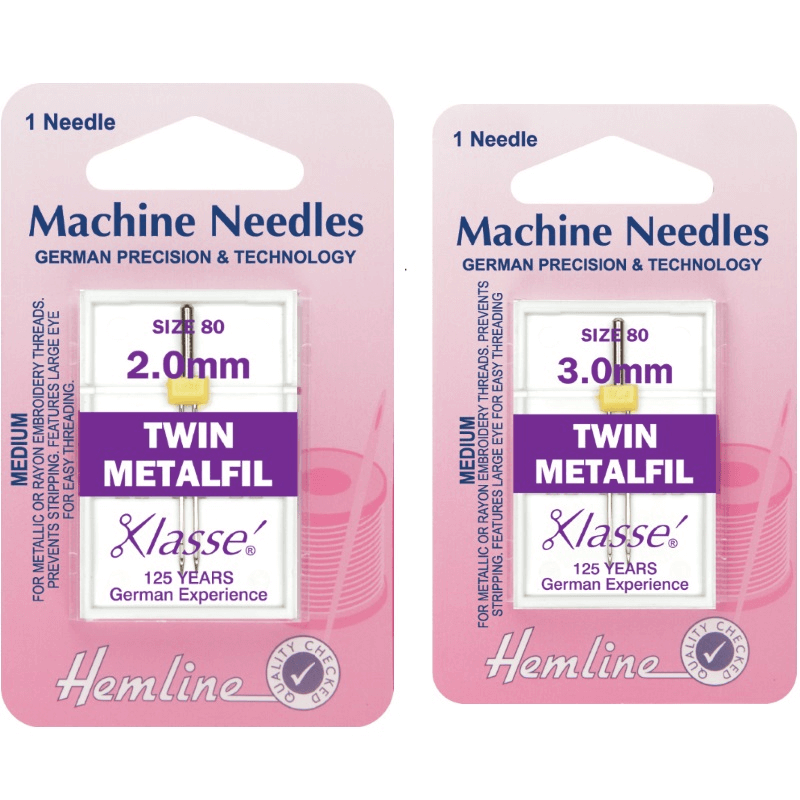 Hemline Twin Metalfil Machine Needles Various Style And Types