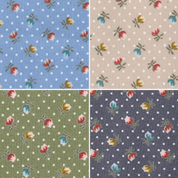 100% Cotton Poplin Fabric Rose & Hubble Piccadilly Street Roses Flowers Polka Dots