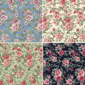 100% Cotton Poplin Fabric Rose & Hubble Barn Owl Roses Heads Floral Flowers
