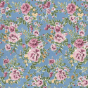 Blue 100% Cotton Poplin Fabric Rose & Hubble Barn Owl Roses Heads Floral Flowers