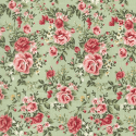 Green 100% Cotton Poplin Fabric Rose & Hubble Barn Owl Roses Heads Floral Flowers