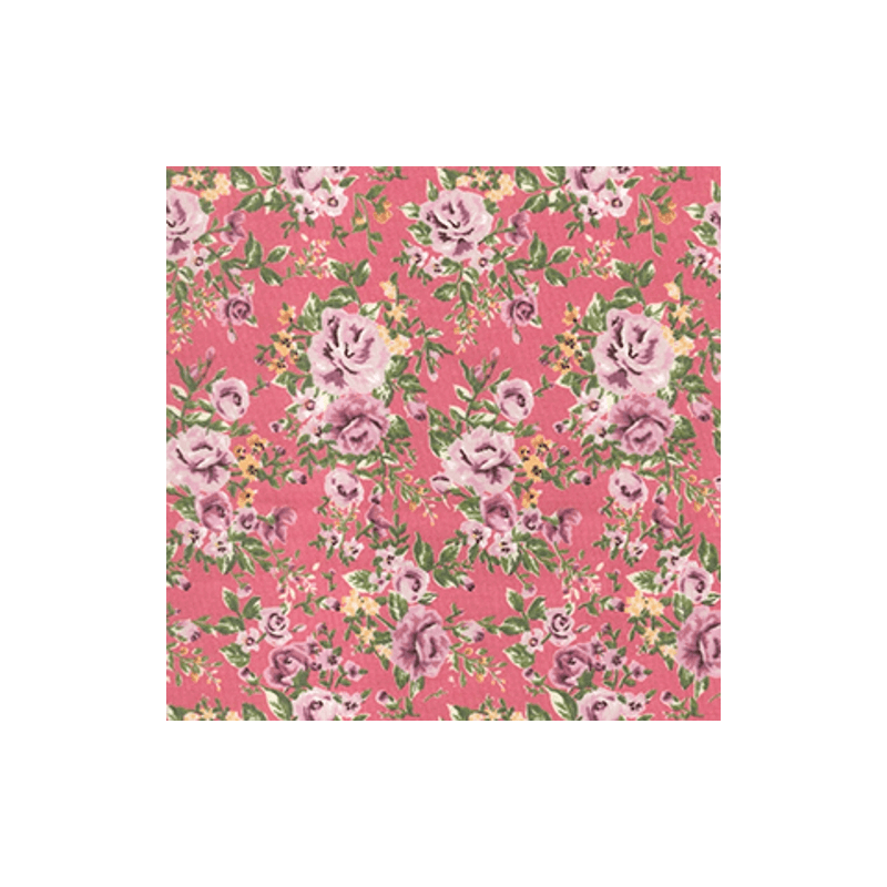 Pink 100% Cotton Poplin Fabric Rose & Hubble Barn Owl Roses Heads Floral Flowers
