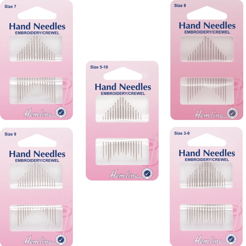 Hemline Embroidery/Crewel Hand Sewing Needles In Various Sizes