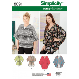 Misses Kimonos in Various Styles Shirts Tops Simplicity Sewing Pattern 8091