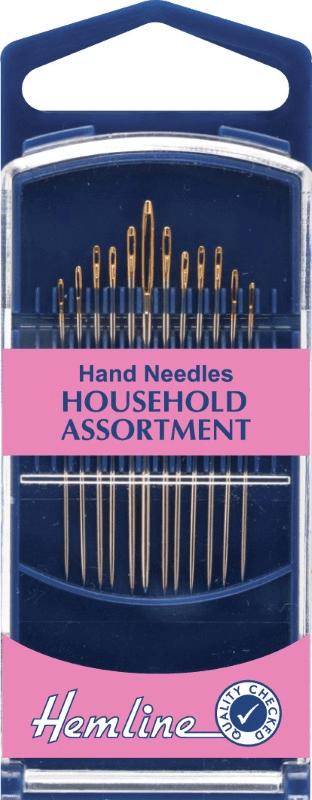 Hemline Premium Gold Eye Household Assorted Hand Sewing Needles 12 Pack