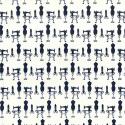 Dressmaking Icons Mannequin Sewing Machine 100% Cotton Poplin Fabric Patchwork