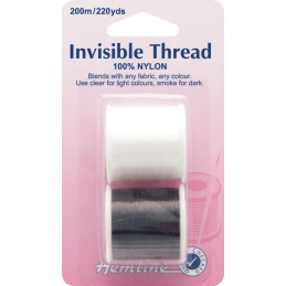 Hemline 200m Invisible Thread Clear & Smoke 100% Nylon Sewing
