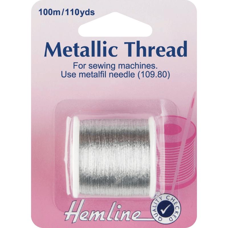 Hemline 100m Metallic Sewing Machine Thread Silver Or Gold
