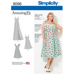Simplicity Amazing Fit Plus Size Dresses 50s or Ball Gown Sewing Pattern 8096