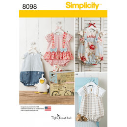 Babies' Rompers, Sandals, and Stuffed Duck Simplicity Sewing Pattern 8098