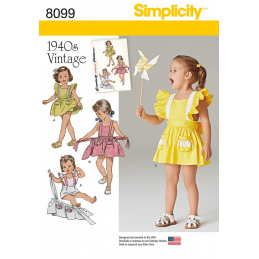 Simplicity Toddlers' Romper and Button-on Skirt Apron Sewing Pattern 8099