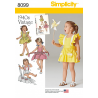Toddlers' Romper and Button-on Skirt Apron Simplicity Sewing Pattern 8099