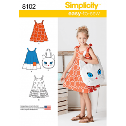 Child's Easy-to-Sew Sundress and Kitty Tote Bag Simplicity Sewing Pattern 8102