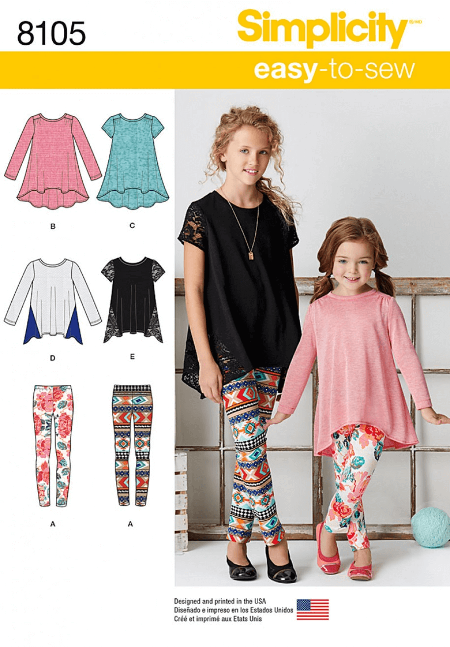Child's and Girls' Knit Tunics Tops and Leggings Simplicity Sewing Pattern 8105