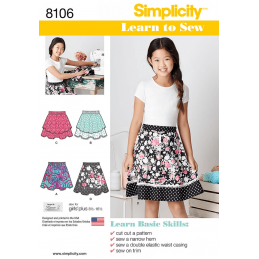 Simplicity Sewing Pattern 8106 Learn To Sew Flare Skirts Girls and Girls Plus